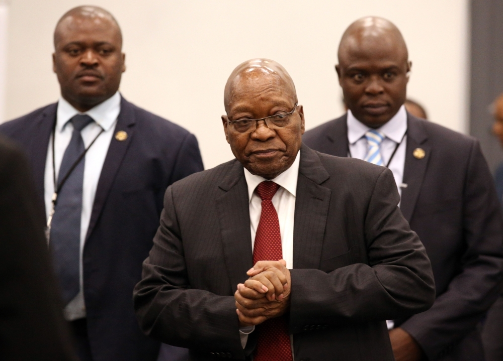 Former South African President Jacob Zuma arrives to appear before the Commission of Inquiry into State Capture that is probing wide-ranging allegations of corruption in government and state-owned companies in Johannesburg, South Africa, on Friday. — AFP