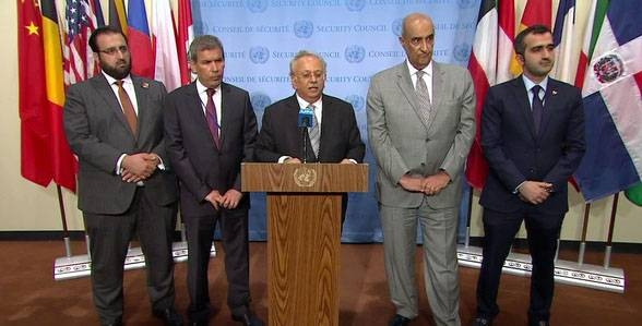 Saudi Ambassador to the United Nations Abdallah Al-Mouallimi speaking at a press conference in New York.