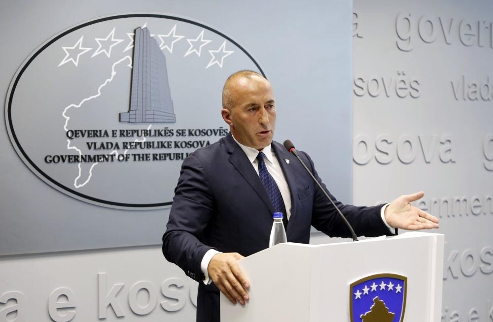 Kosovo's Prime Minister Ramush Haradinaj speaks during a press conference in Pristina, Kosovo, on Friday. — Reuters