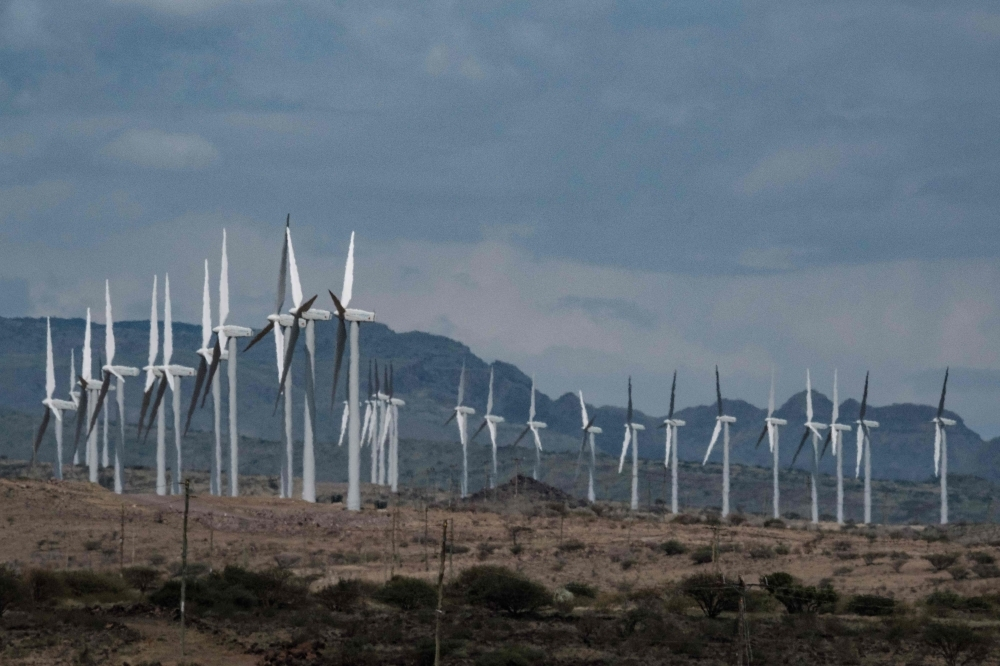 Wind turbines of the Lake Turkana Wind Power project (LTWP), which have been standing idle for nearly a year, are seen in Loiyangalani district, Marsabit County, northern Kenya, in this June 29, 2018 file photo. — AFP