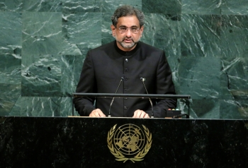 Pakistani Prime Minister Shahid Khaqan Abbasi addresses the 72nd United Nations General Assembly at UN headquarters in New York in this Sept. 21, 2017 file photo. — Reuters