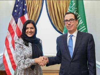 Saudi Ambassador to the United States Princess Reema Bint Bandar meets with US Treasury Secretary Steven Mnuchin in Washingtonto discuss opportunities to further strengthen the countries' partnership,