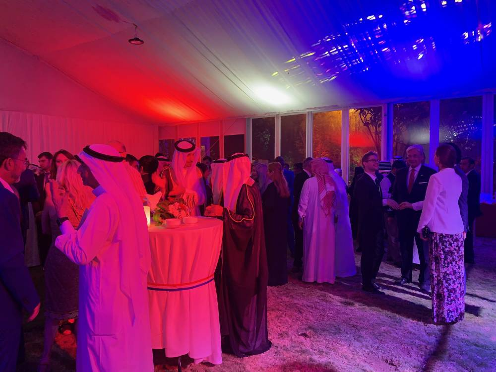 Dignitaries gathered at the residence of the French Consul General.