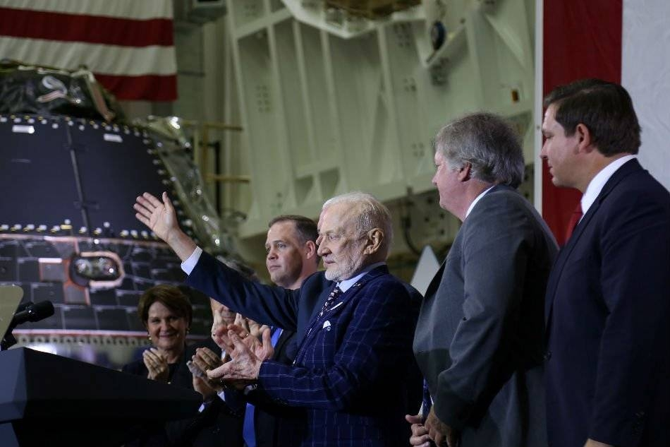 Buzz Aldrin applauds during a ceremony to commemorate the 50th anniversary of the Apollo 11 moon landing, at NASA's Kennedy Space Center in Florida on Saturday. –Reuters photo