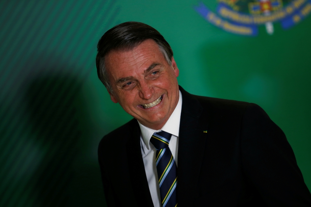 Brazil's President Jair Bolsonaro attends the ceremony marking his 200 days in office at the Planalto Palace in Brasilia, Brazil on July 18. -Reuters photo