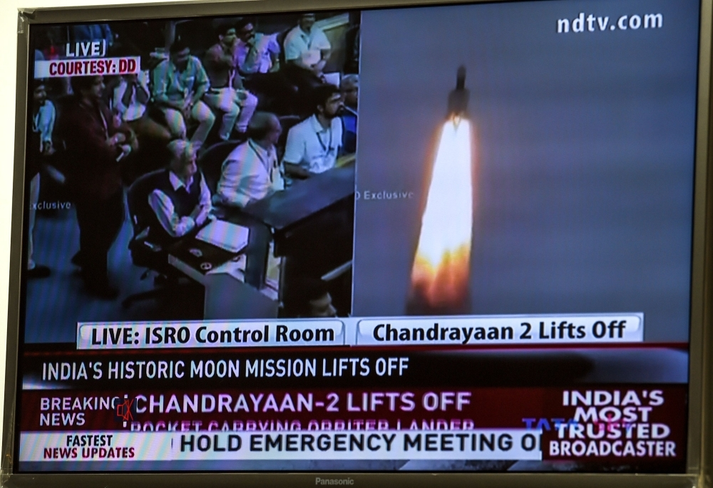 A television grab shows the launch of Chandrayaan - Moon Chariot 2 at the Satish Dhawan Space Centre in Sriharikota, an island off the coast of southern Andhra Pradesh state, in New Delhi on Monday. -AFP photo