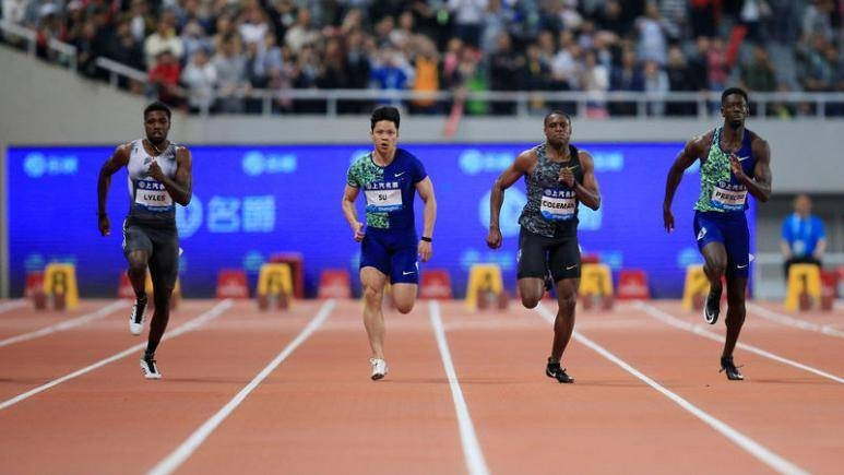 Noah Lyles of the US on his way to winning the men's 100m ahead of Chris Coleman during Diamond League at Shanghai Stadium, Shanghai, China, in this May 18, 2019 file photo. — Reuters