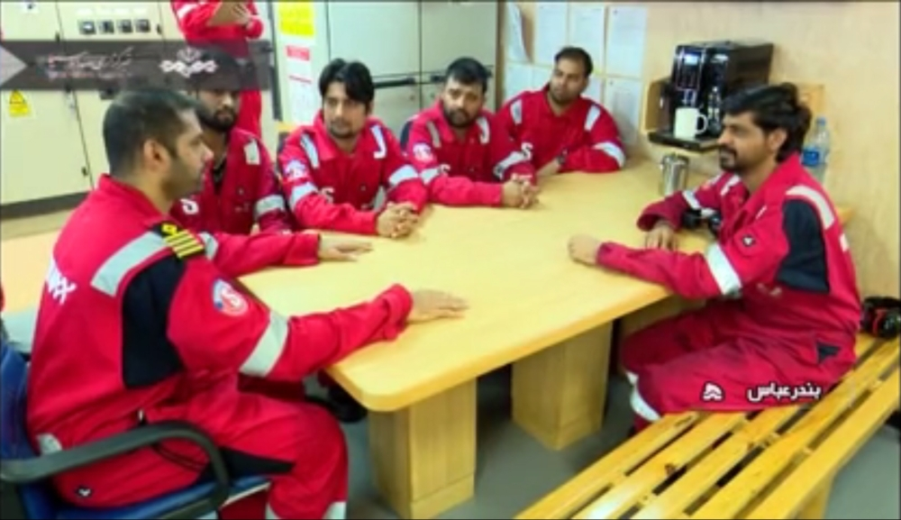 An image grab taken from a broadcast by Islamic Republic of Iran Broadcasting (IRIB) on Monday shows crew members of the British-flagged tanker Stena Impero, after it was seized by Iran's Revolutionary Guard Corps. — AFP