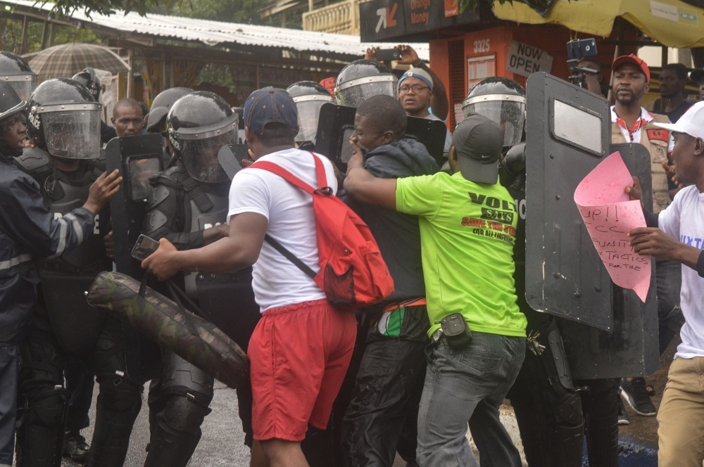 Police deployed as the organizers of the June 7 protest take to the streets in the capital Monrovia on Wednesday. — AFP