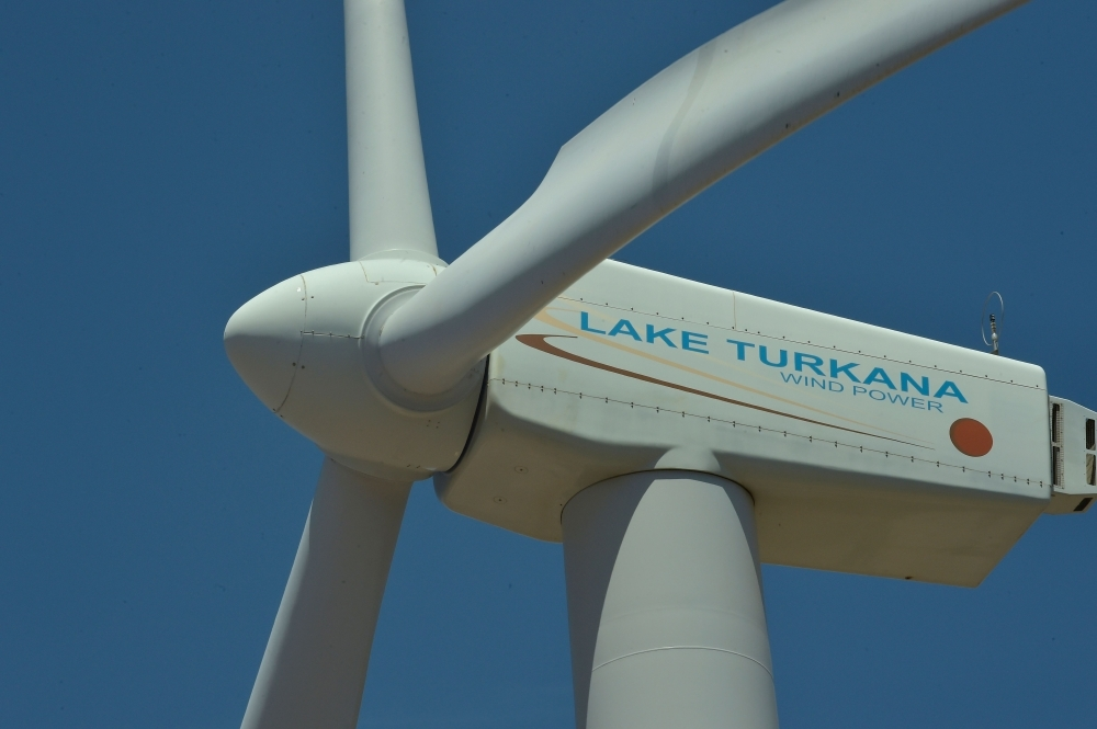A wind turbine at the Lake Turkana Wind Power is seen in Loiyangalani District, in Marsabit County, approximately 545 km north of Nairobi, on Tuesday. The farm has 365 turbines (type Vestas V52), each with capacity of 850 kW. The wind farm is providing reliable, low cost energy to Kenya's national grid. — AFP