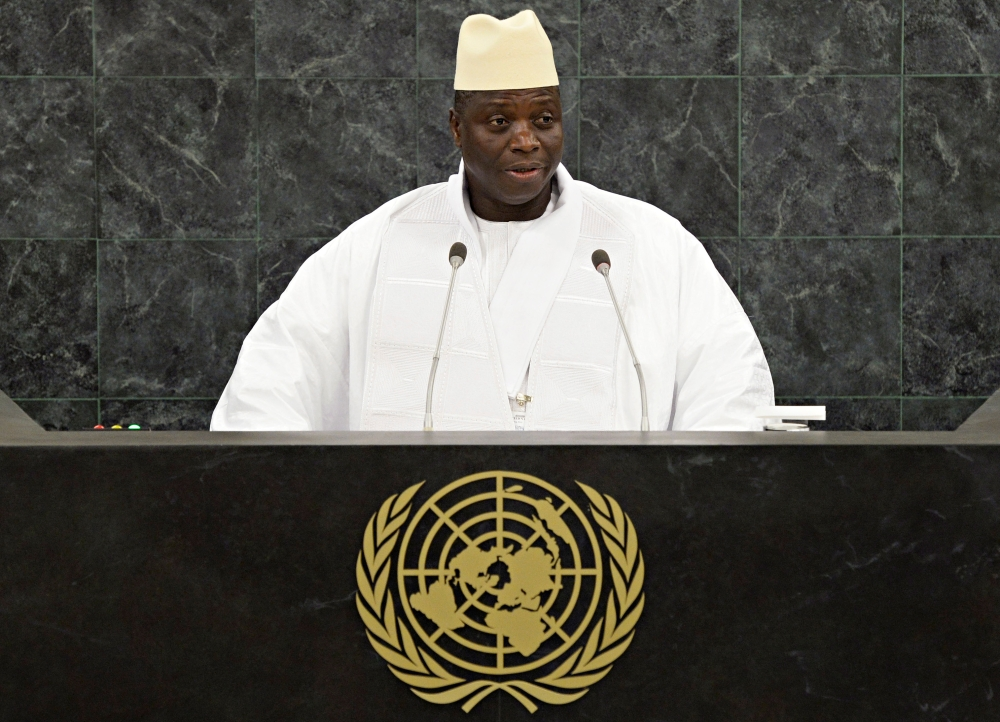Gambian President Yahya Jammeh addresses the 68th United Nations General Assembly at UN headquarters in New York in this Sept. 27, 2013 file photo. — Reuters