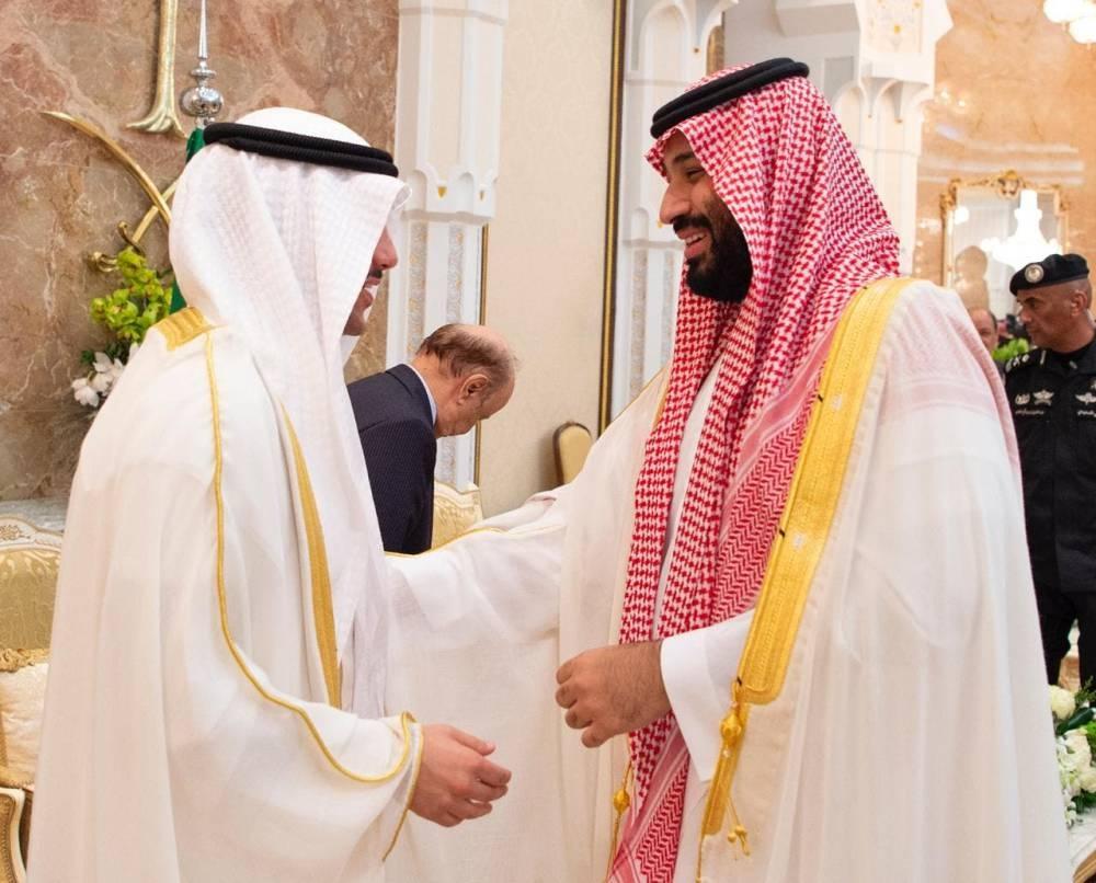 Crown Prince Muhammad Bin Salman receives guests for Eid Al-Adha. -SPA