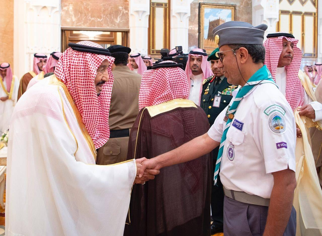 Custodian of the Two Holy Mosques King Salman receives guests for Eid Al-Adha. -SPA