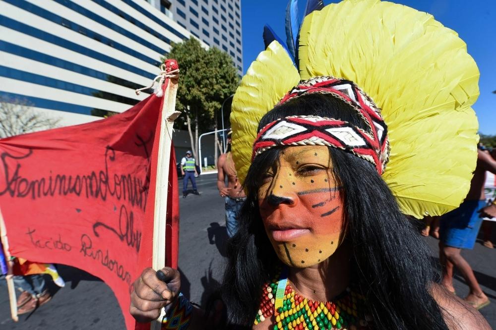 Brazilian indigenous women march in Brasilia, on Tuesday. -AFP
