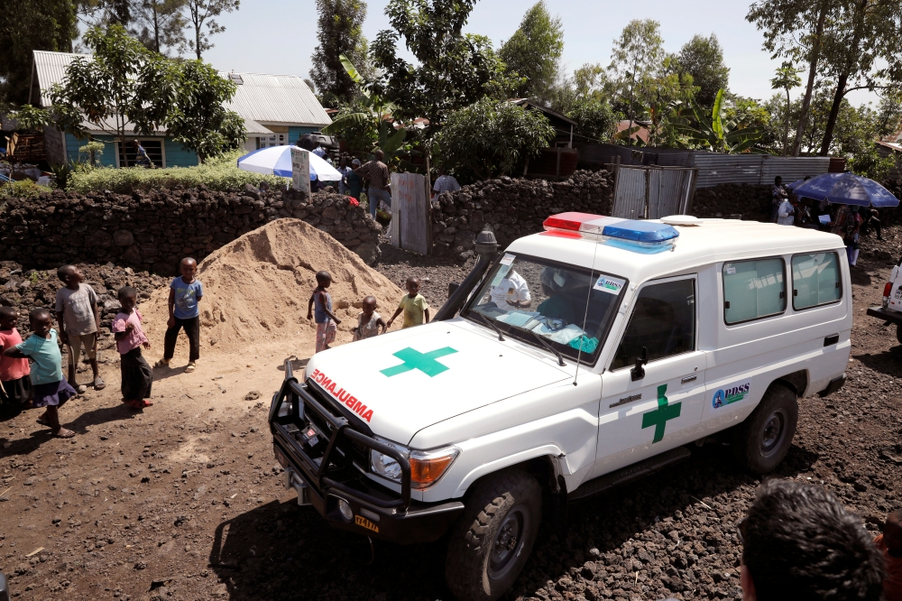 An ambulance waits next to a health clinic to transport a suspected Ebola patient, in Goma in the Democratic Republic of Congo, in this unrelated file photo. — Reuters