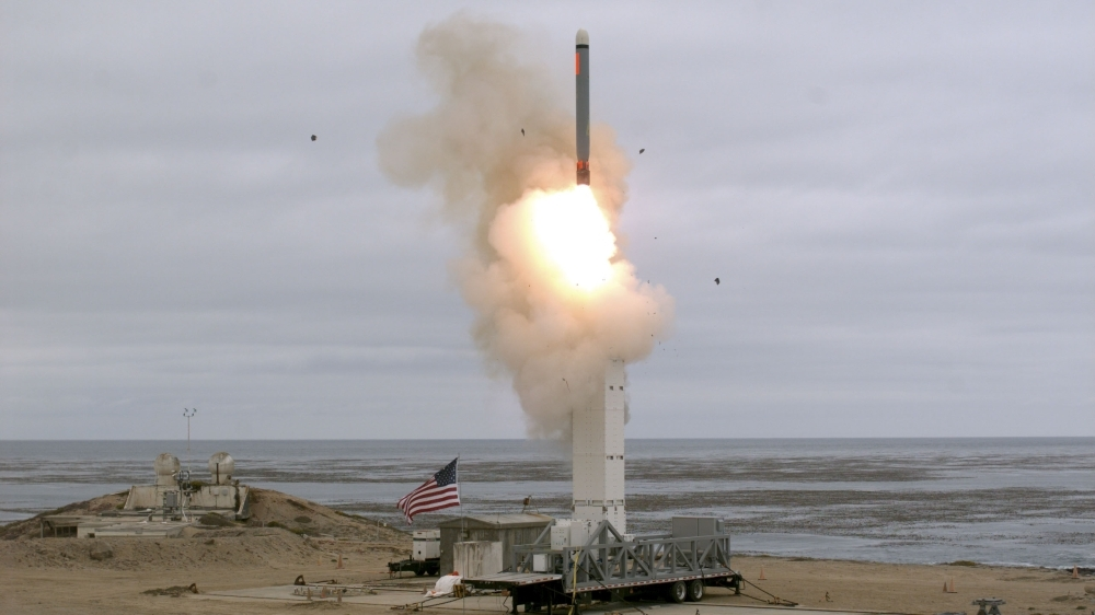 This US Department of Defense (DOD) handout photo shows on August 18, at 2:30 p.m. Pacific Daylight Time, that the Defense Department conducted a flight test of a conventionally configured ground-launched cruise missile at San Nicolas Island, California. -AFP