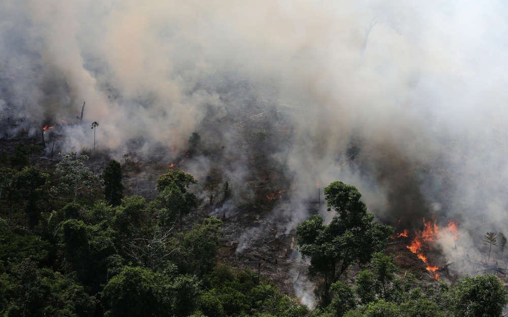 An aerial view of a tract of Amazon jungle burning as it is being cleared by loggers and farmers near the city of Novo Progresso, Para state, Brazil, in this Sept. 23, 2013 file photo. — Reuters