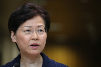 Hong Kong's Chief Executive Carrie Lam speaks during a news conference in Hong Kong on Tuesday. -Reuters