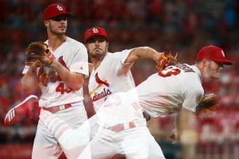 Dakota Hudson of the St. Louis Cardinals delivers a pitch against the Milwaukee Brewers in the sixth inning at Busch Stadium in St. Louis, Missouri, on Monday. — AFP