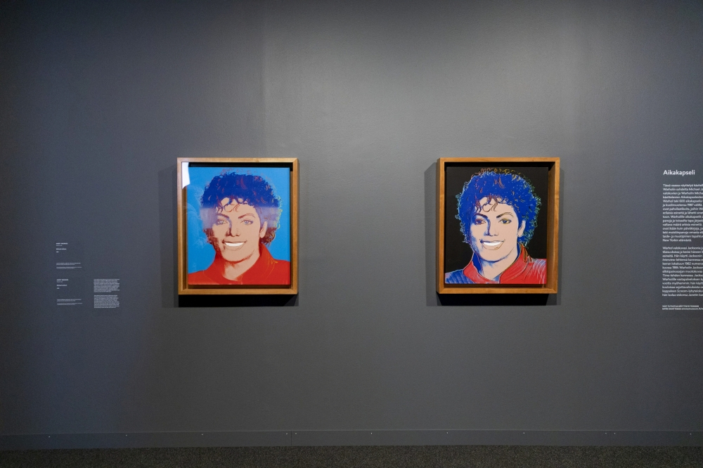 Andy Warhol's Michael Jackson artworks are pictured at the media event for Michael Jackson: On the Wall - art exhibition in Espoo, Finland, on Tuesday. — Reuters