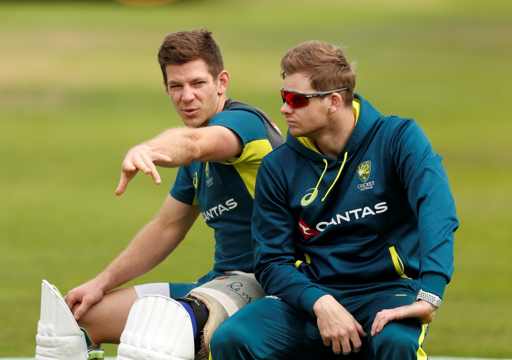 Australia's Steve Smith (R) and Tim Paine during nets at Headingley, Leeds, Britain, on Wednesday. — Reuters