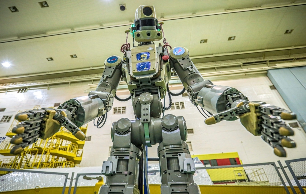 This handout picture taken on July 26, 2019 and released by the official website of the Russian State Space Corporation ROSCOSMOS on Wednesday shows Russian humanoid robot Skybot F-850 (Fedor) being tested ahead of its flight on board Soyuz MS-14 spacecraft at the Baikonur Cosmodrome in Kazakhstan. — AFP