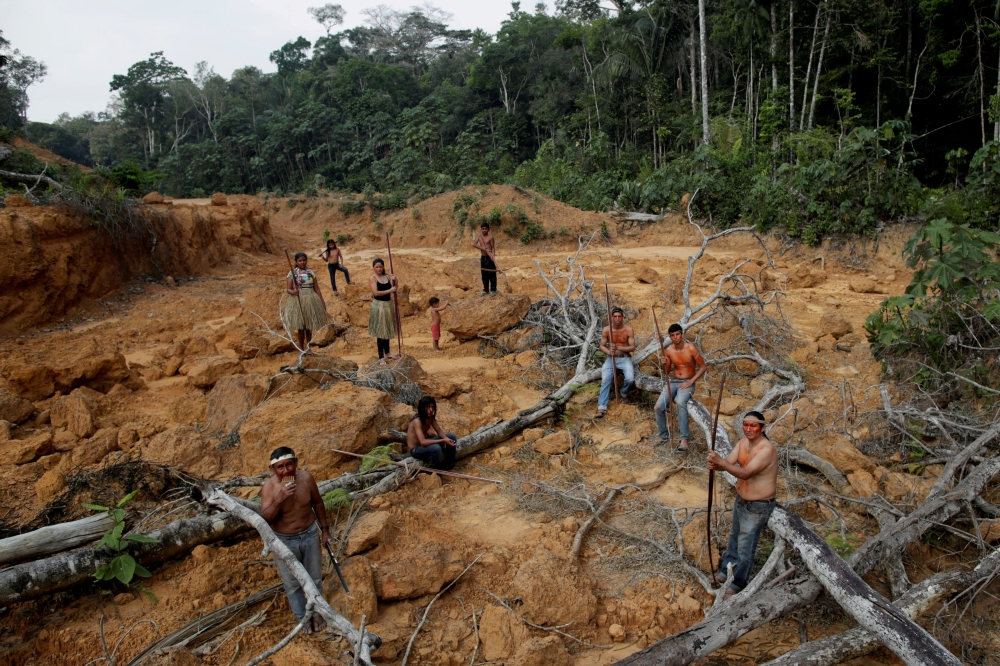 Indigenous people from the Mura tribe shows a deforested area in unmarked indigenous lands inside the Amazon rainforest near Humaita, Amazonas State, Brazil, in this Aug. 20, 2019 file photo.  — Reuters