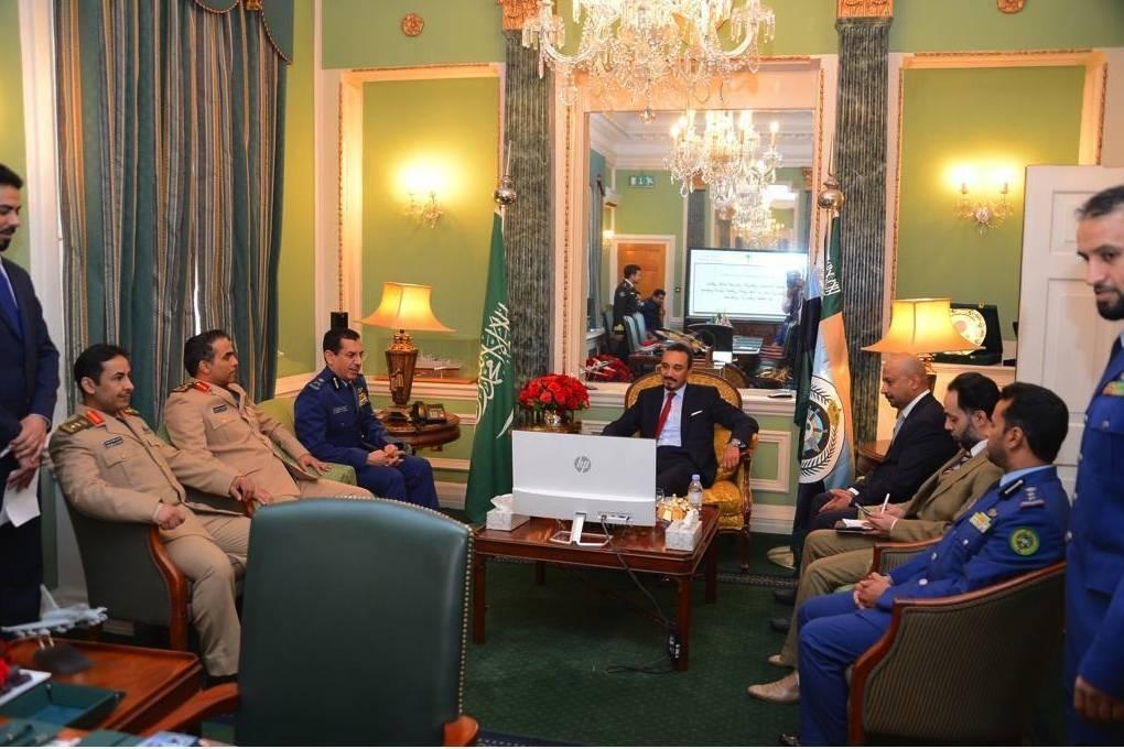 Prince Khalid Bin Bandar Bin Sultan meets with the staff of the Saudi military attache in London. — SPA