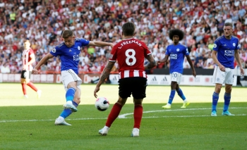Leicester City's Harvey Barnes scores their second goal against Sheffield United at Bramall Lane, Sheffield, Britain, on Saturday. — Reuters