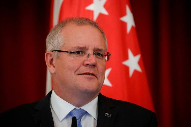 Australian Prime Minister Scott Morrison speaks during a joint press conference at the Istana Presidential Palace in Singapore, on June 7, 2019. -Reuters