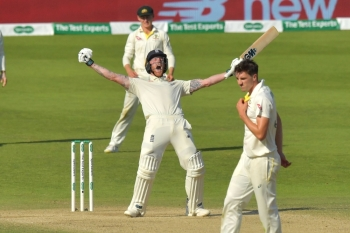 England's Ben Stokes celebrates hitting the winning runs on the fourth day of the third Ashes cricket Test match between England and Australia at Headingley in Leeds, northern England, on Sunday. — AFP