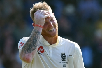 England's Ben Stokes reacts as he leaves the pitch after England won the third Ashes cricket Test match between England and Australia at Headingley in Leeds, northern England, on Sunday. — AFP