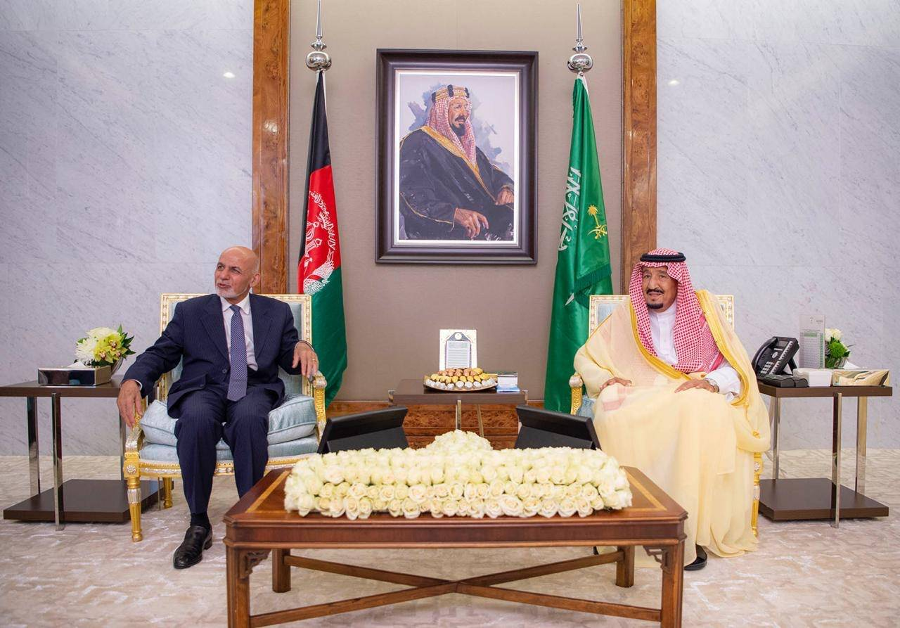 Custodian of the Two Holy Mosques King Salman receives Afghan President Dr. Mohammad Ashraf Ghani at Al-Salam Palace in Jeddah on Sunday -SPA
