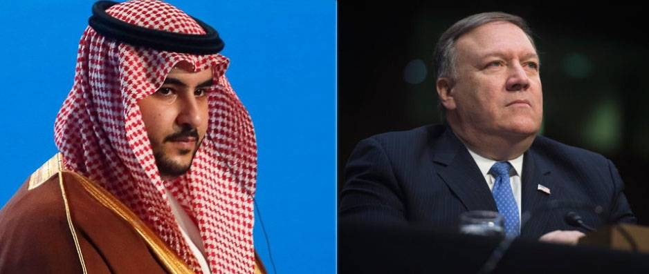 Saudi Arabia's Deputy Defense Minister Prince Khalid Bin Salman and US Secretary of State Michael Pompeo ares seen in this file combination picture. — Courtesy photo