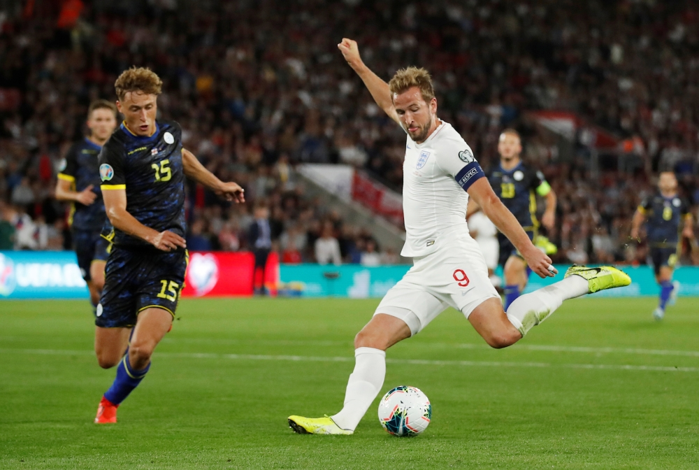 England's Harry Kane scores their second goal during Euro 2020 Qualifier Group A game against Kosovo at St. Mary's Stadium, Southampton, Britain, on Tuesday. — Reuters