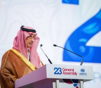 Ahmed Al Khatib, chairman of the Board of Directors of the Saudi Commission for Tourism and National Heritage (SCTH) speaking at the 23rd session of the United Nations World Tourism Organization (UNWTO) in St. Petersburg on Wednesday. — Courtesy photo