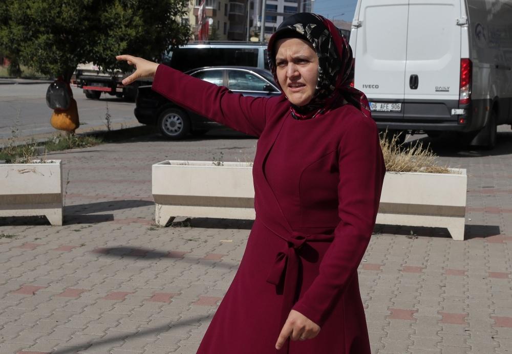 Sumeyye Yilmaz explains on Aug. 27, 2019 how her husband, Mustafa Yilmaz, was taken by men outside the family home in Ankara, on Feb. 19. — AFP