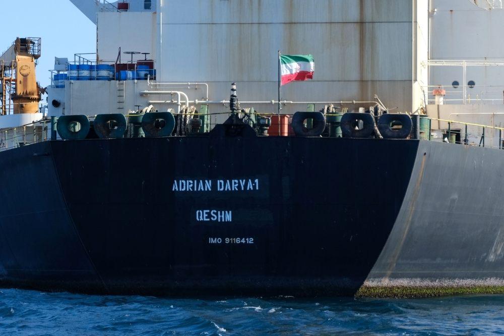 An Iranian flag flutters on board the Adrian Darya oil tanker, formerly known as Grace 1, off the coast of Gibraltar, in this Aug. 18, 2019 file photo. — AFP
