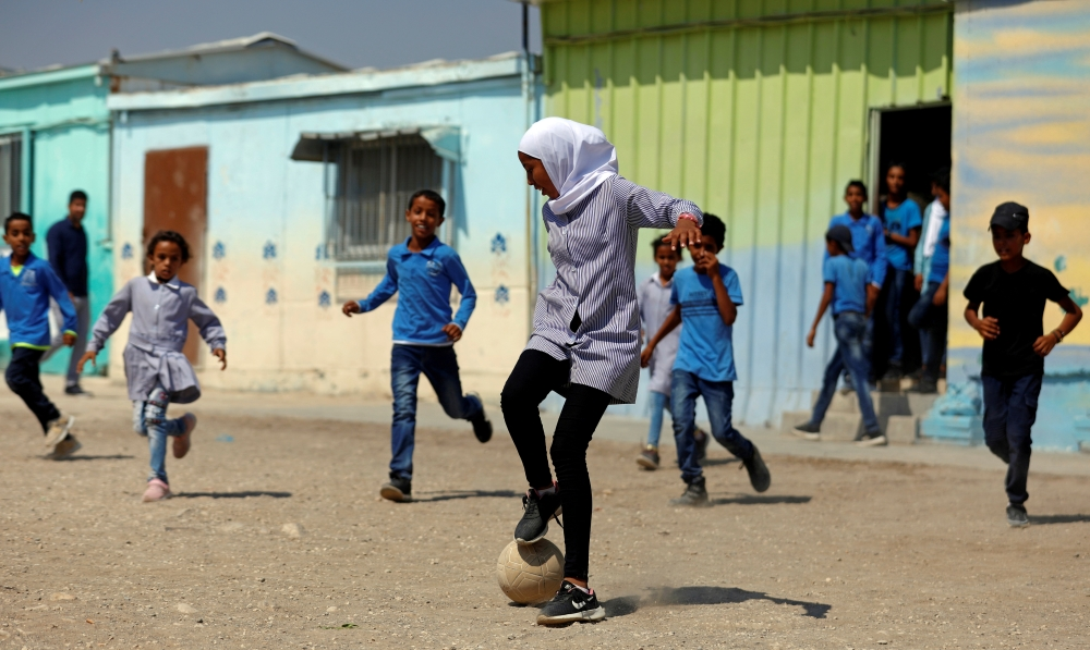 Palestinian students play soccer at their school in Jordan Valley in the Israeli-occupied West Bank in this Sept. 11, 2019 file photo. — Reuters