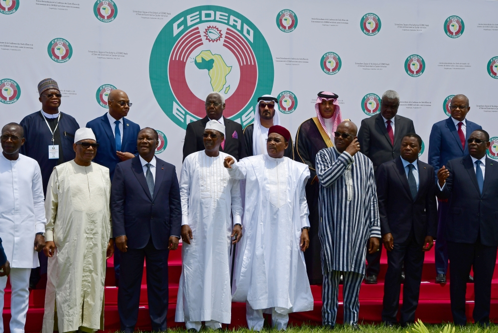 West African leaders and officials stand for a family photo at the ECOWAS extraordinary summit on terrorism in Ouagadougou, Burkina Faso on Saturday. -Courtesy photo