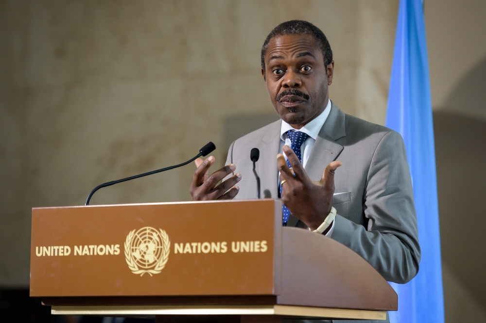 This file photo taken on July 15, 2019 shows then Congo's Health Minister Oly Ilunga gesturing as he speaks during a press conference following a meeting hold by the United Nations on the Ebola disease in Democratic Republic of Congo in Geneva. -AFP