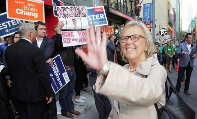 Green Party leader Elizabeth May arrives for a debate hosted by Macleans news magazine, which was not attended by Prime Minister Justin Trudeau, in Toronto, Ontario, Canada on Thursday. — Reuters