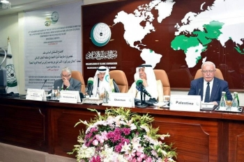 Foreign Minister Ibrahim Al-Assaf chairs the 16th extraordinary meeting of the OIC Countries in Jeddah on Sunday. — SPA