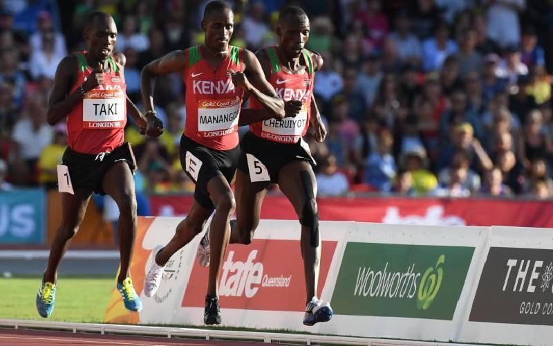 (L-R) Kenya's Kumari Taki, Elijah Motonei Manangoi and Timothy Cheruiyot compete in the athletics men's 1,500m final during the 2018 Gold Coast Commonwealth Games at the Carrara Stadium on the Gold Coast, in this April 14, 2018 file photo. — AFP
