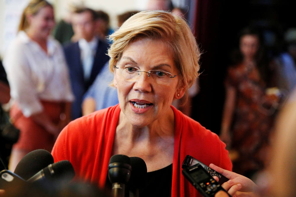 Democratic 2020 US presidential candidate Sen. Elizabeth Warren speaks to members of the media during a town hall at the Peterborough Town House in Peterborough, New Hampshire, in this July 8, 2019 file photo. — Reuters