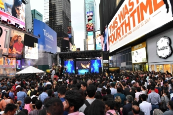 In this file photo taken on July 14, 2017 fans wait to watch Bollywood movie stars during IIFA Stomp in the Times Square to kick off the 18th International Indian Film Academy (IIFA) Festival in New York. -AFP