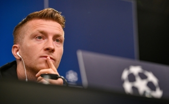 Dortmund's German forward Marco Reus is pictured during a press conference in Dortmund, western Germany, on the eve of the UEFA Champions League Group F football match between Borussia Dortmund and Barcelona, on Monday. — AFP