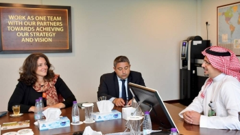Ayman Amin Sejiny, CEO of ICD, holds talks with Samir Suleymanov (Director, Strategic Initiatives, World Bank) and Ms. Wendy Teleki, Head of Women Entrepreneurs Finance Initiative (We-Fi) on Sept. 14  at ICD premises in Jeddah