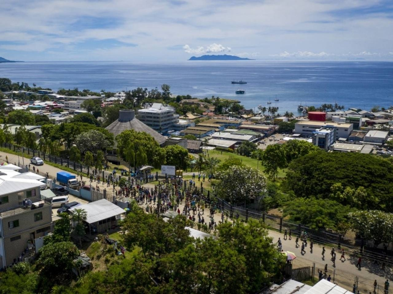 Police were deployed in Honiara on Tuesday as Taiwan closes its embassy in the country. -AFP