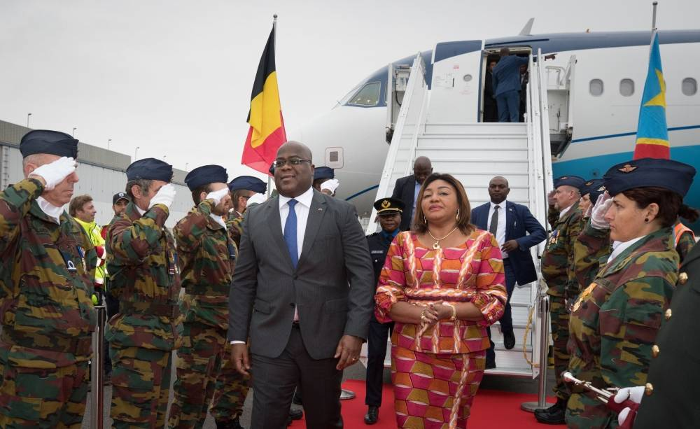Democratic Republic of Congo's President Felix Tshisekedi and his wife Denise arrive for an official visit of several days in Belgium, on Monday. -AFP